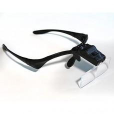 Очила с 2 диода и 5 размера лупи (1х, 1.5х, 2х, 2.5х, 3.5х)